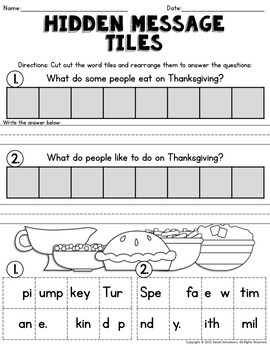First Grade Thanksgiving Activities (Math and ELA)