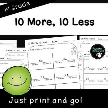 10 More, 10 Less-Student Pages (First Grade, 1.NBT.5)