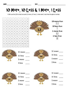 10 More 10 Less Thanksgiving Edition