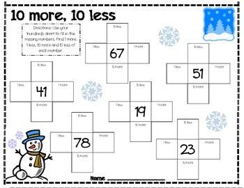 10 More 10 Less (Winter/Snowman)