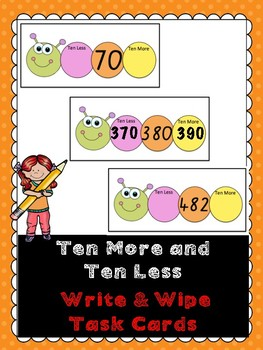Ten More, Ten Less Write and Wipe Cards