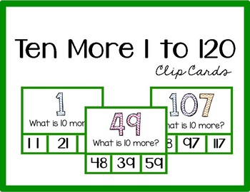 10 More Clip Cards (Numbers 1 to 120)