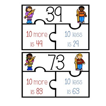 #summer2017  10 and 100 Less & More Puzzles and Worksheets