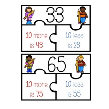 10 and 100 Less & More Puzzles and Worksheets