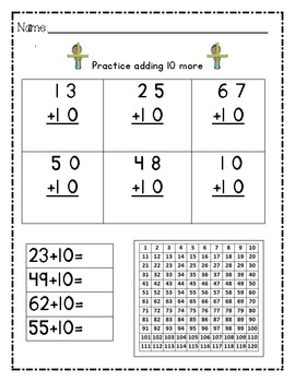 10 More and 10 Less~ 1 more and 1 less ~Cross Method PRINTABLE PACKET!
