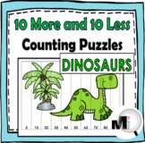 10 More and 10 Less Number Puzzles Dinosaur Theme