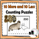 10 More and 10 Less Number Puzzles Zoo Theme
