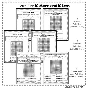 10 More and 10 Less - Worksheets and NO-PREP Games