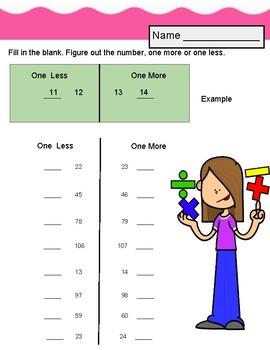 10 More, ten Less. review. No prep. worksheets