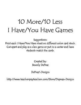 10 More/10 Less I Have/You Have Games