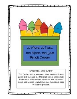 10 More/Less, 100 More/Less Pencil Center