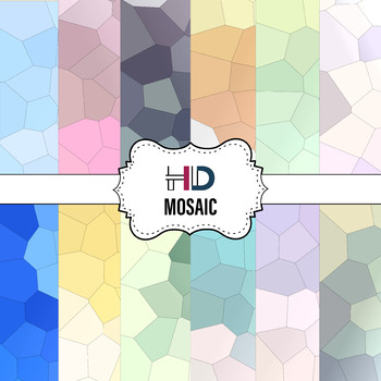 12 Mosaic Digital Background Papers with Abstract Geometrical Gradient Textures