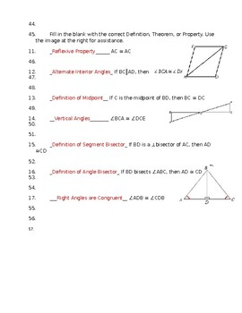 10 Most Common Properties, Definitions and Theorems for Triangle Proofs