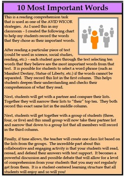 10 Most Important Words Reading Comprehension