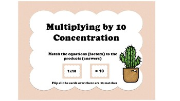 10 Multiplication Facts Concentration Free