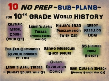 10 NO PREP SUB-PLANS- HIGH SCHOOL WORLD HISTORY- more learning, less babysitting