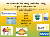10 New Common Core Activities for Irony in Commercials w/Answer Key