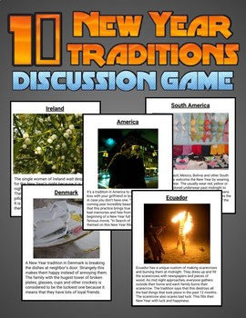 10 New Year Traditions: Discussion Game (Editable in Google Slides)