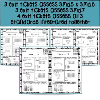 10 No Prep Exit Tickets | Geometric Measurement: Area 3.MD.5 - 7 | 3rd Grade