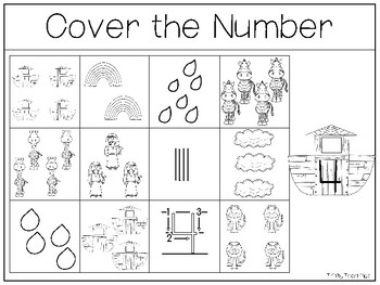 10 Noah's Ark themed Counting Work Mats/Worksheets. Bible Math Curriculum.
