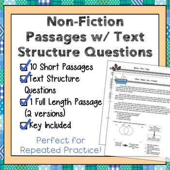 10 Non-Fiction Mini-Passages with Text Structure Questions, Short Assessments