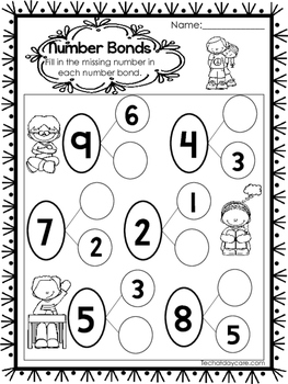 10 Number Bonds Worksheets. Fill In the Missing Numbers. Preschool ...