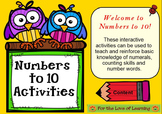 10 Numbers to 10 Interactive Smartboard Activities Pre K-2
