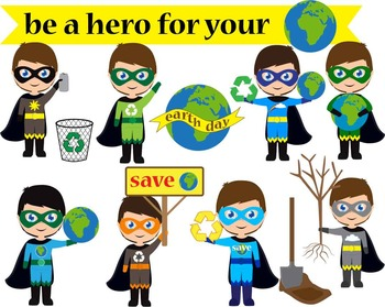 10 PNG Files- Be a Hero for Your Planet- Digital Clip Art - 300 dpi 082