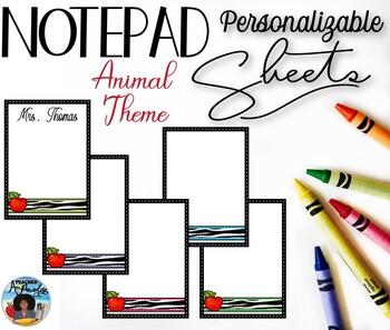 Animal Themed Notepad Sheets Set {Editable}