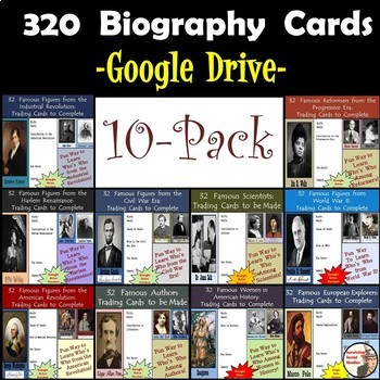 10-Pack of History Biography / Trading Cards - 320 Cards - Google Drive 20% Off!