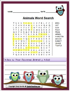 10 Pack Pre-K to 2nd Grade Word Search *OWL EDITION*