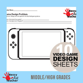 10 Pack Video Game Design Worksheets for Middle/High School