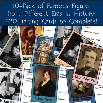 10-Pack of Famous Figures in History: 320 Trading Cards to