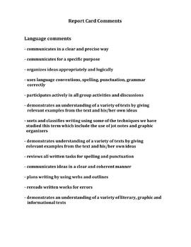 10 Page Report Card Writing Package Gr. 4-6
