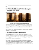 10 Painful Truths Everyone Too Soon Forgets - Writing Assignment