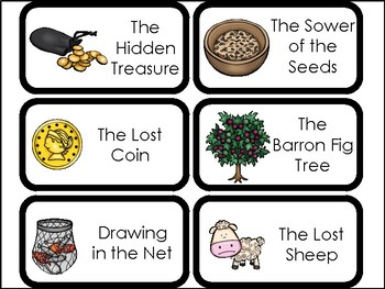 10 Parables Printable Flashcards. Preschool-Elementary Bible Study.