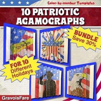 10 Patriotic Activities and Crafts: Patriotic Holidays BUNDLE (Save 30%)