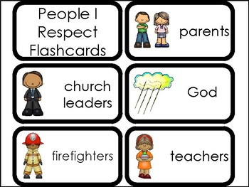10 People I Respect Printable Flashcards. Preschool-Elementary Bible Study.