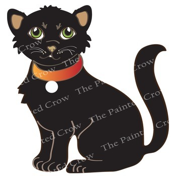 Halloween Clip Art Set - 3 Little Witches and Black Cat