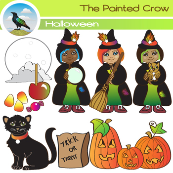 10 Piece Halloween Clipart Set - 3 Little Witches and Black Cat