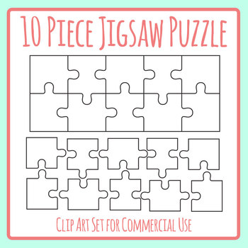 10 Piece Jigsaw Puzzle Blank Template - Puzzle in Ten Pieces Clip Art Set