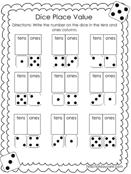 10 Place Value Worksheets. Dice, Dominoes, and Build It-Write It. KDG-1st grade.