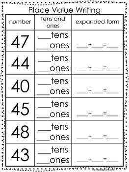 10 place value worksheets writing tens and ones and expanded form kdg 1st grad. Black Bedroom Furniture Sets. Home Design Ideas