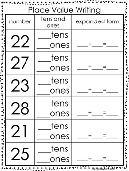 10 Place Value Worksheets. Writing Tens and Ones and Expanded Form. KDG-1st Grad