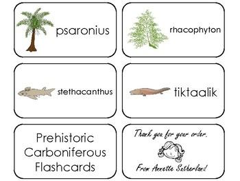 10 Prehistoric Carboniferous Printable Flashcards. Preschool-3rd Grade