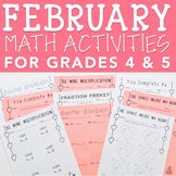 10 Print & Go Valentine's Day Math Activities for Grades 4 & 5