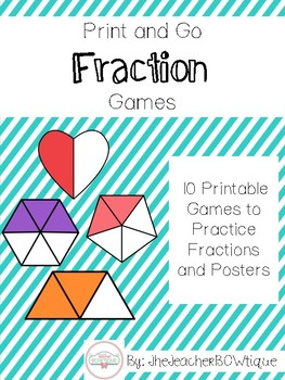 10 Print and Go Math Games: Identifying Fractions
