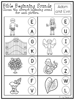 10 Printable Bible Beginning Sounds Worksheets. Preschool-Kindergarten  Phonics.