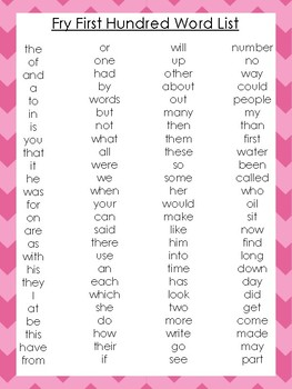 10 Printable Chevron Border Fry Sight Word Wall Chart Posters.