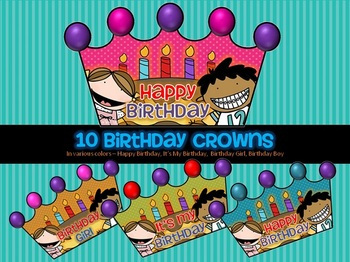 10 printable happy birthday hats crowns by tiny toes tpt for Happy birthday crown template